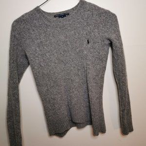 Grey 100% Lambs Wool Ralph Lauren Cable Sweater